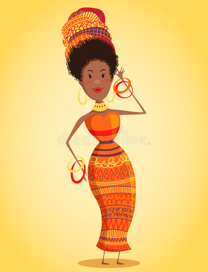 头巾和传统服装的动画片美丽的非洲妇女有全长种族几何的装饰品的 向量例证