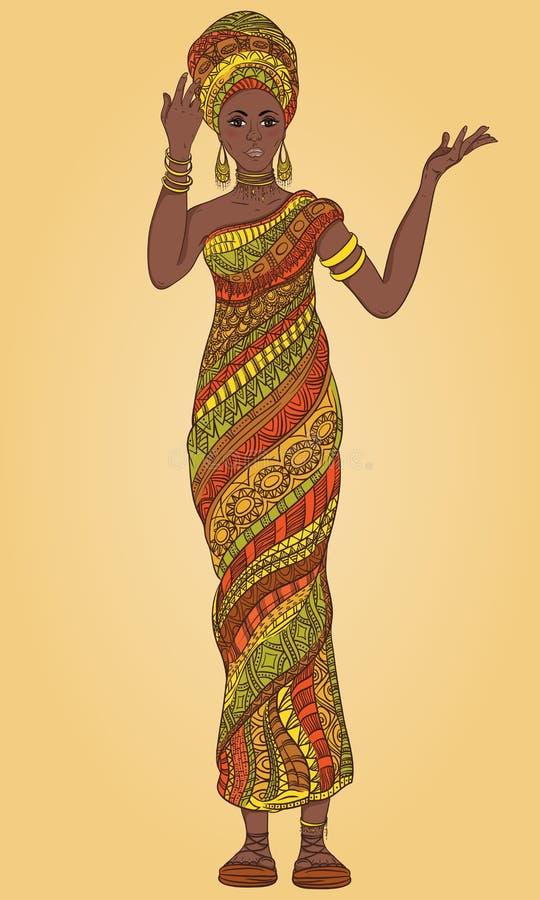 头巾和传统服装的跳舞的美丽的非洲妇女有全长种族几何的装饰品的 库存例证