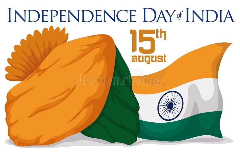 头巾和庆祝国庆节的印度的旗子,传染媒介例证 向量例证