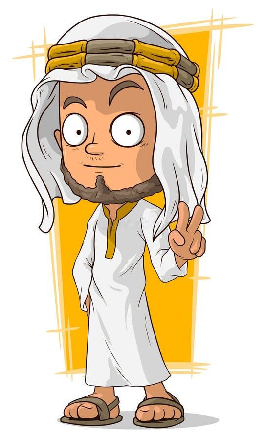 头巾的动画片阿拉伯回教族长 向量例证
