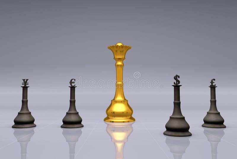 货币下棋比赛 免版税库存图片