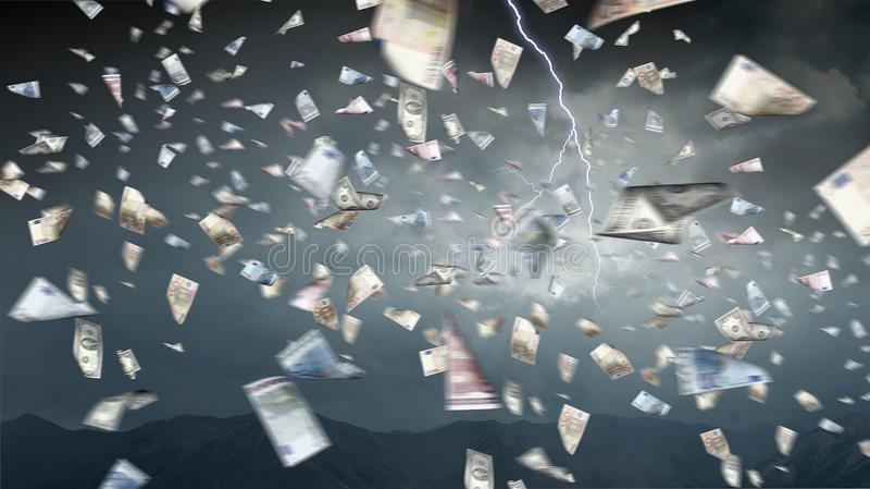 货币下雨 混合画法 皇族释放例证