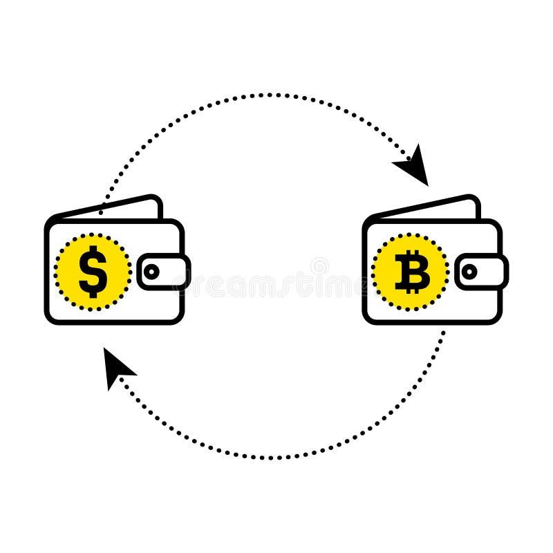 货币抽象标志交换以微笑的形式 美元bitcoin交换 平的设计 免版税图库摄影