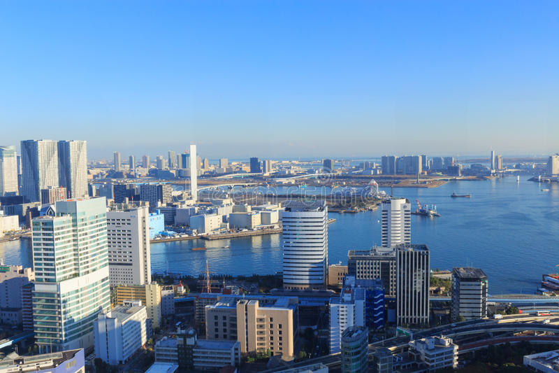 市东京,东京海湾区域的摩天大楼 免版税库存图片
