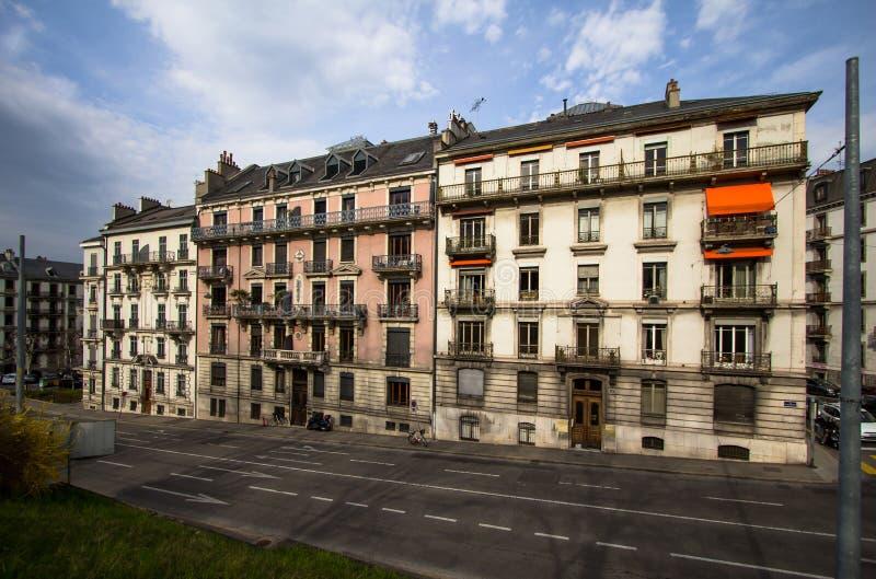 市中心在日内瓦 免版税库存图片