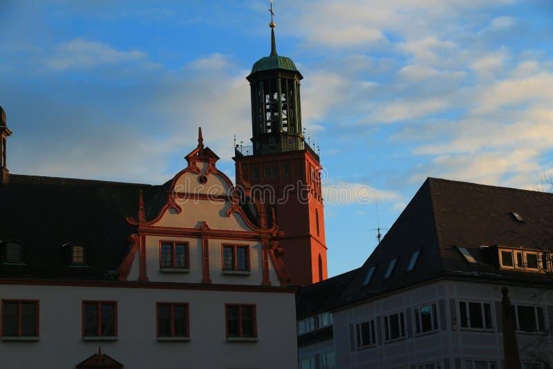 市中心在达姆施塔特,德国 库存照片