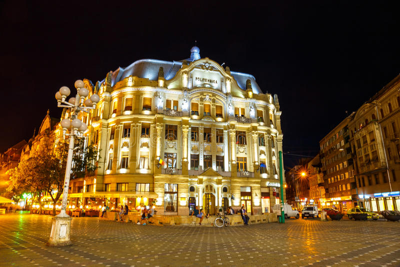 市中心夜视图在蒂米什瓦拉2014年7月22日,罗马尼亚 免版税库存图片