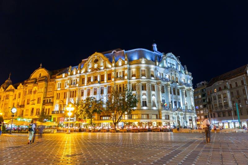 市中心夜视图在蒂米什瓦拉2014年7月22日 免版税图库摄影