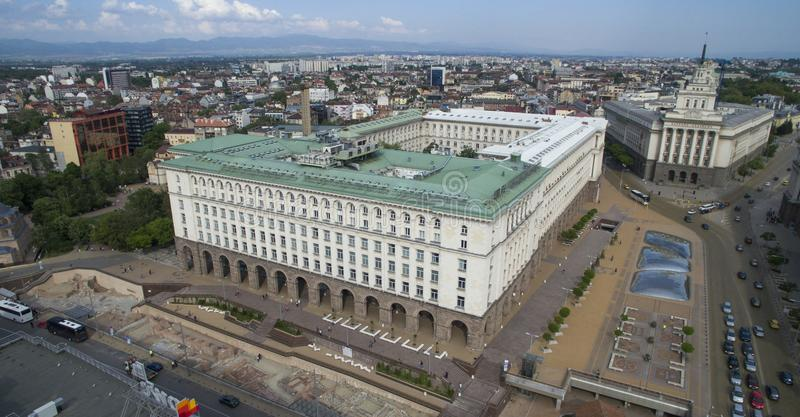 市中心的鸟瞰图,索非亚,保加利亚 免版税库存照片