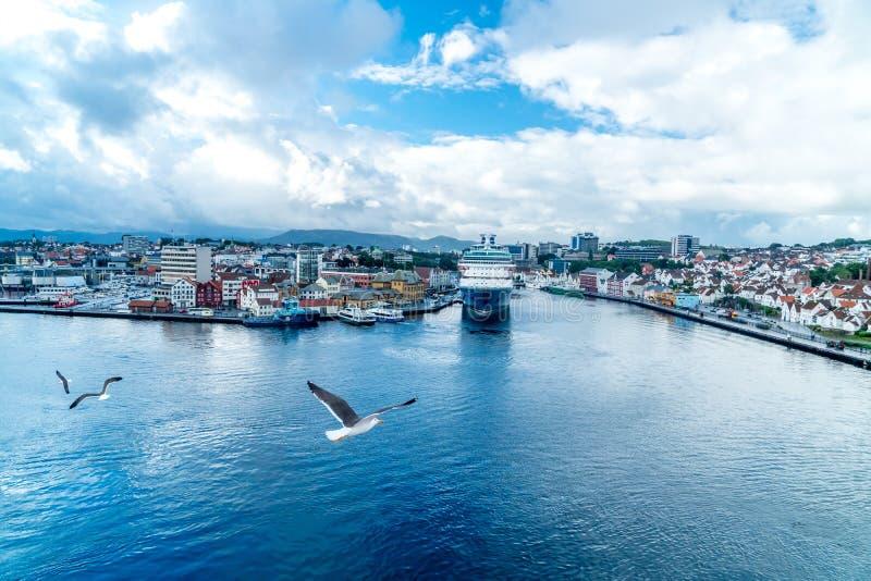 市从一cruiseship的斯塔万格与海鸥 图库摄影