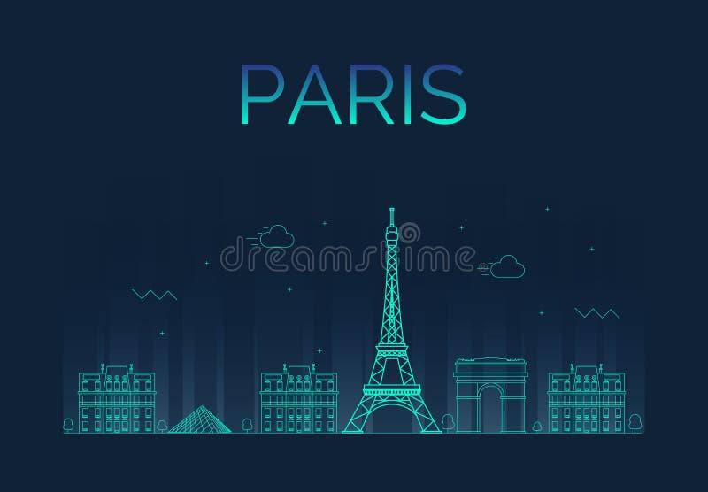 巴黎市地平线详细的剪影 时髦 库存例证