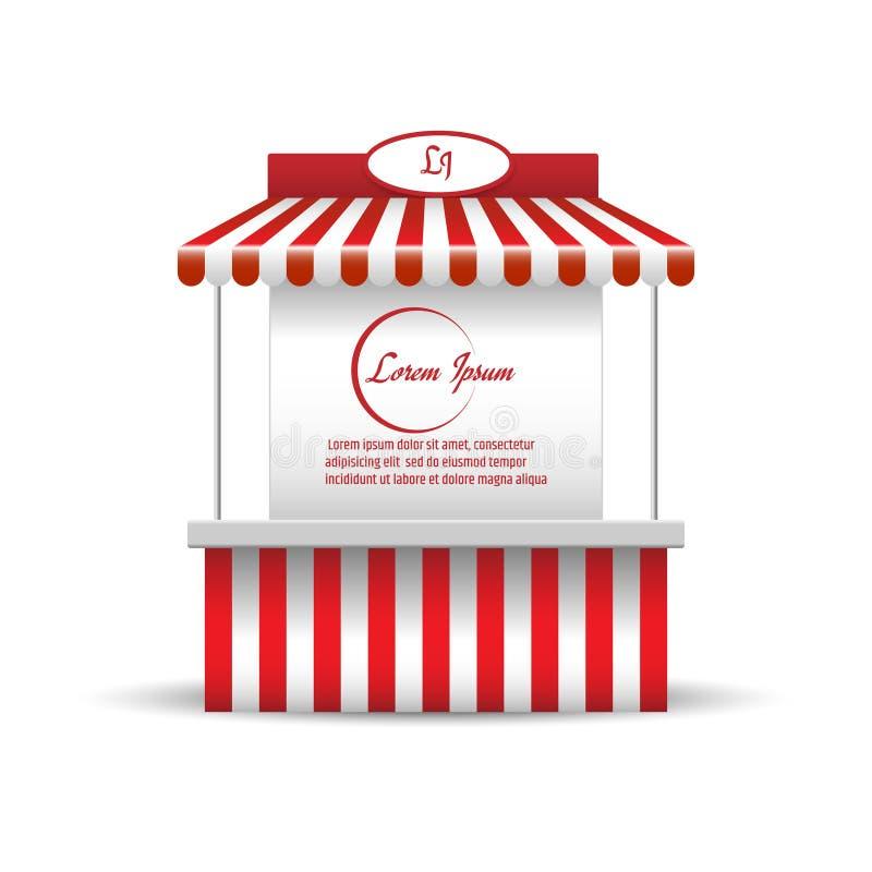 市场促进销售的立场摊位 购物 皇族释放例证
