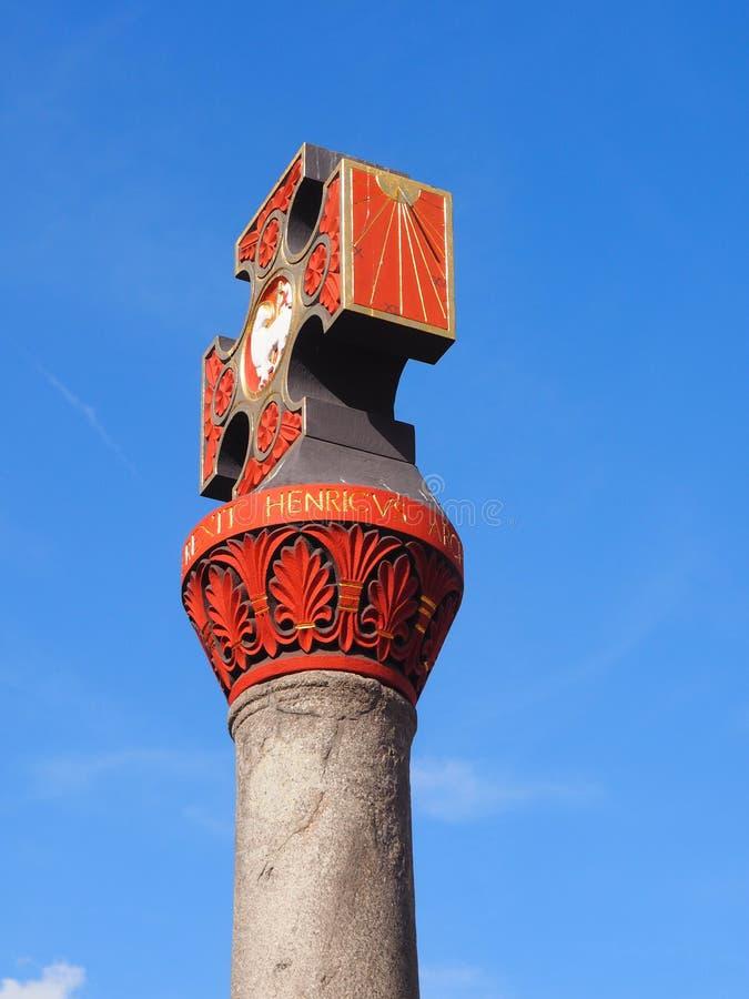 市场十字架在老镇河的摩泽尔实验者 图库摄影
