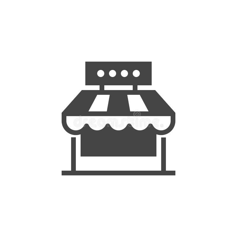 市场商店纵的沟纹象 街道食物或咖啡馆概念平的标签 商业市场地方商标  也corel凹道例证向量 库存例证