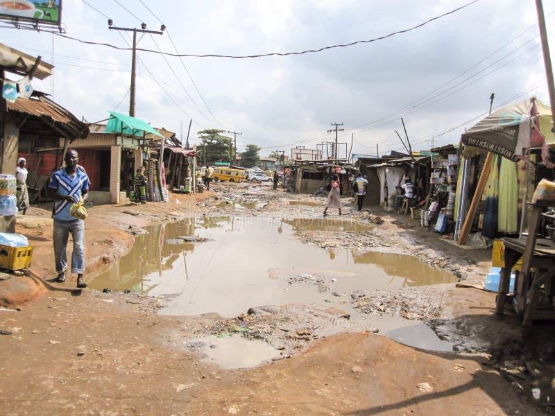 市场在拉各斯,尼日利亚 库存照片