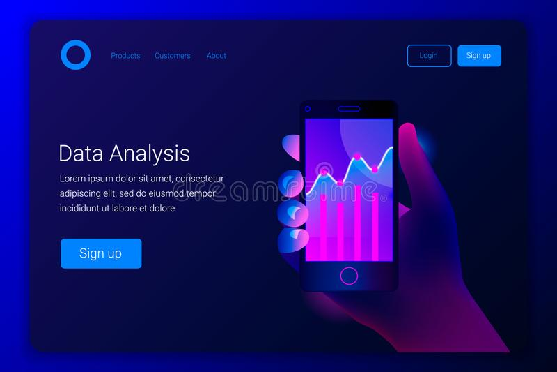 市场在智能手机的趋势分析 向量例证