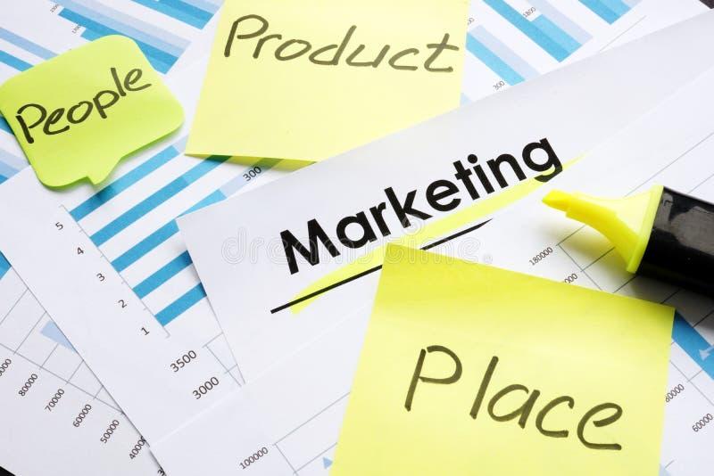 市场报告和忠心于词产品人安置促进 免版税库存照片