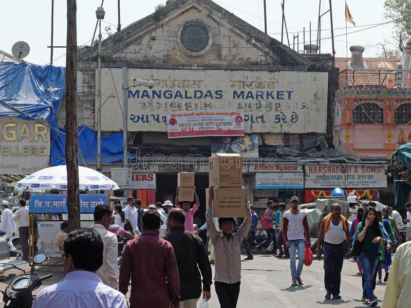 市场搬运工在孟买 库存照片