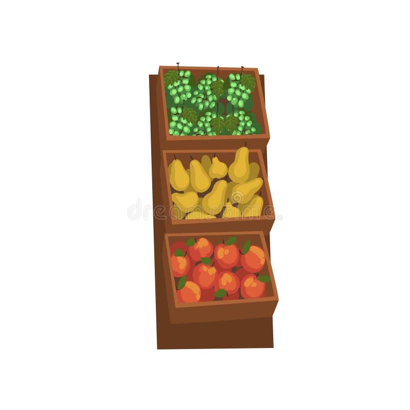 市场木柜台用用新鲜的自然有机果子,街道商店陈列室传染媒介例证 皇族释放例证