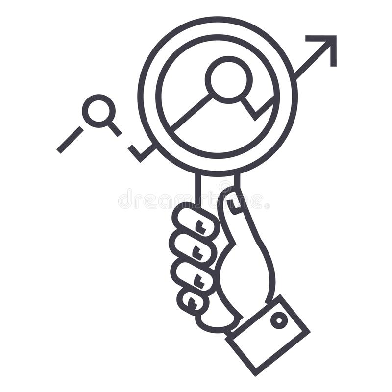 市场研究,在手中迅速移动,搜寻趋向传染媒介线象,标志,在背景,编辑可能的冲程的例证 向量例证