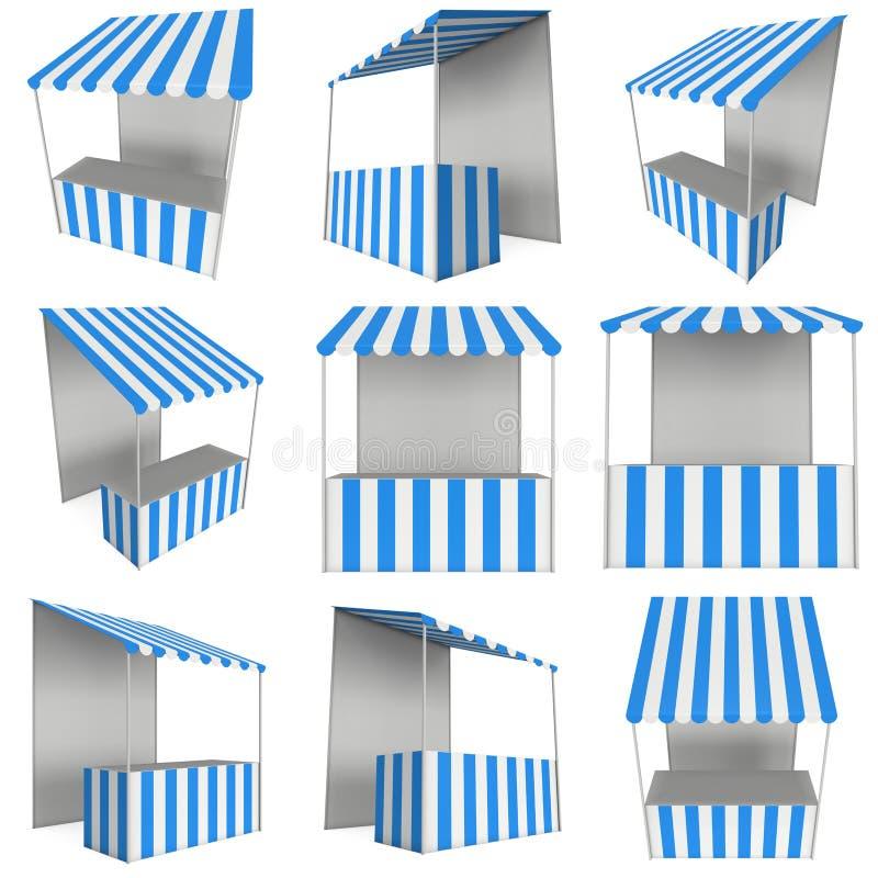 市场立场与镶边遮篷的报亭摊位促进销售的 皇族释放例证