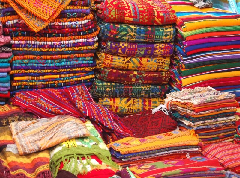 市场纺织品 免版税图库摄影