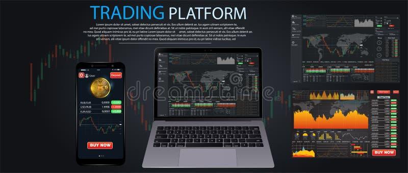 市场贸易 二进制选择 贸易的平台,帐户 按电话和胜利交易 做的金钱,事务 分析企业医疗图表的市场 我 皇族释放例证