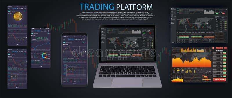 市场贸易 二进制选择 贸易的平台,帐户 按电话和胜利交易 皇族释放例证