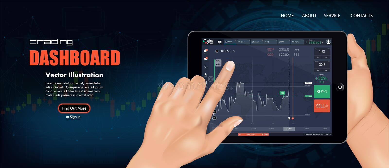 市场贸易 二进制选择 贸易的平台 库存例证