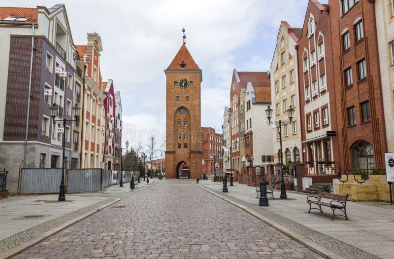 市场门在Elblag,波兰 免版税库存照片