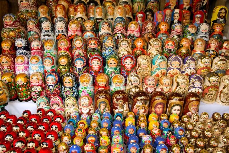 市场matryoshka莫斯科俄语 免版税库存照片