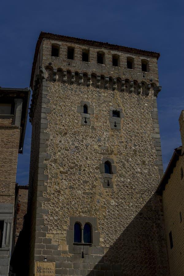 市塞戈维亚,著名为它的罗马渡槽,在西班牙 免版税库存照片