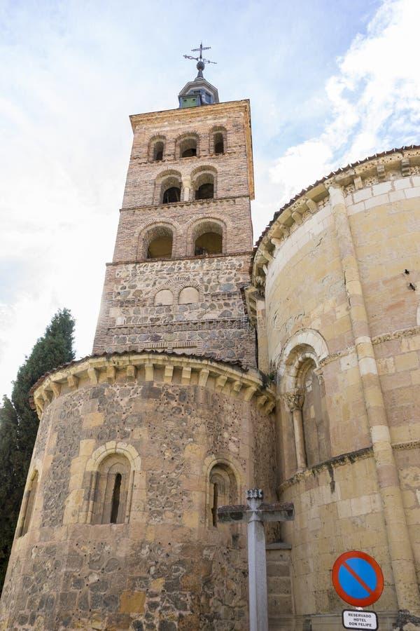 市塞戈维亚,著名为它的罗马渡槽,在西班牙 库存图片