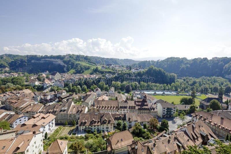 市弗里堡在瑞士 免版税库存图片