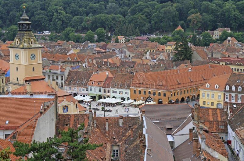 市政厅和其他大厦在布拉索夫老镇  库存图片