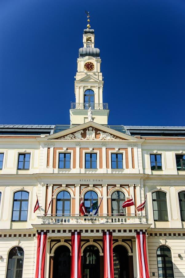 市政厅在里加,拉脱维亚 免版税库存图片