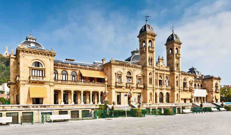 市政厅在San Sebastian (Donostia),西班牙 免版税库存图片