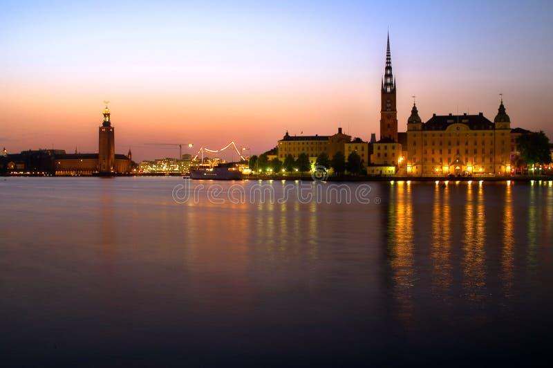 市政厅晚上斯德哥尔摩 库存照片