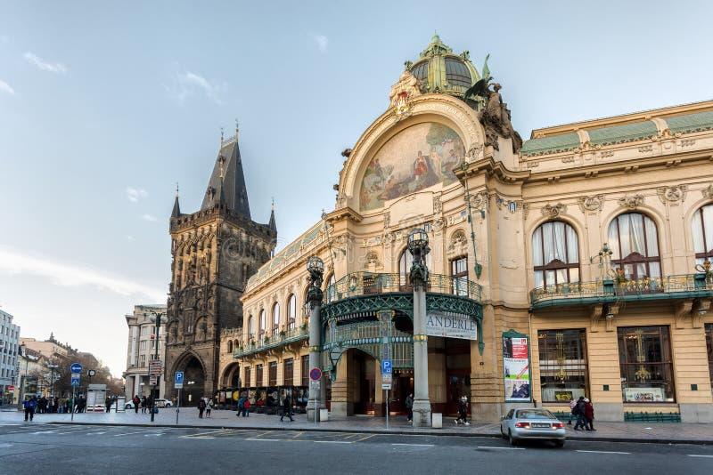 市政议院,捷克Obecni dum在布拉格 免版税库存图片