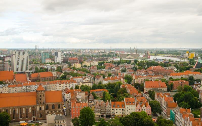 市格但斯克在波兰,在老镇的鸟瞰图,从S 图库摄影