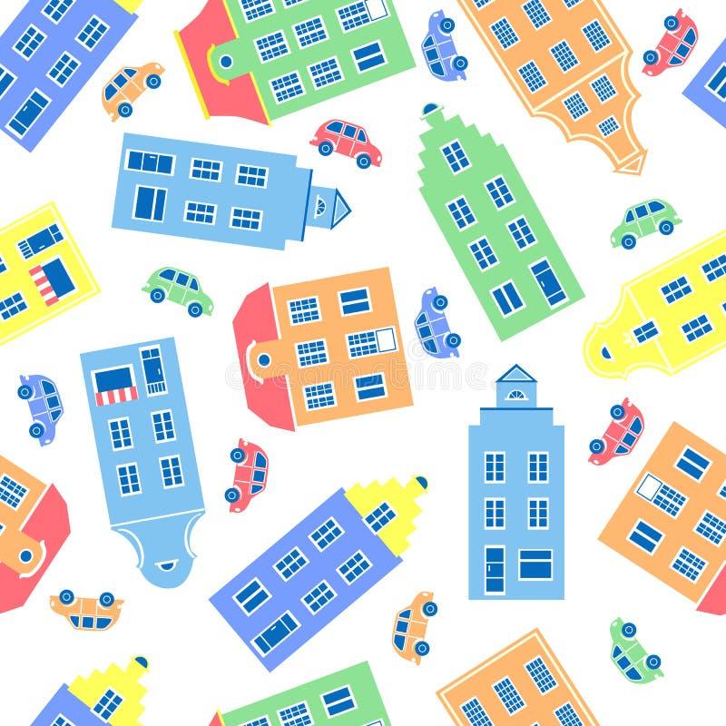 市民房子五颜六色的门面,汽车在白色背景,欧洲人代表的传染媒介例证  库存例证