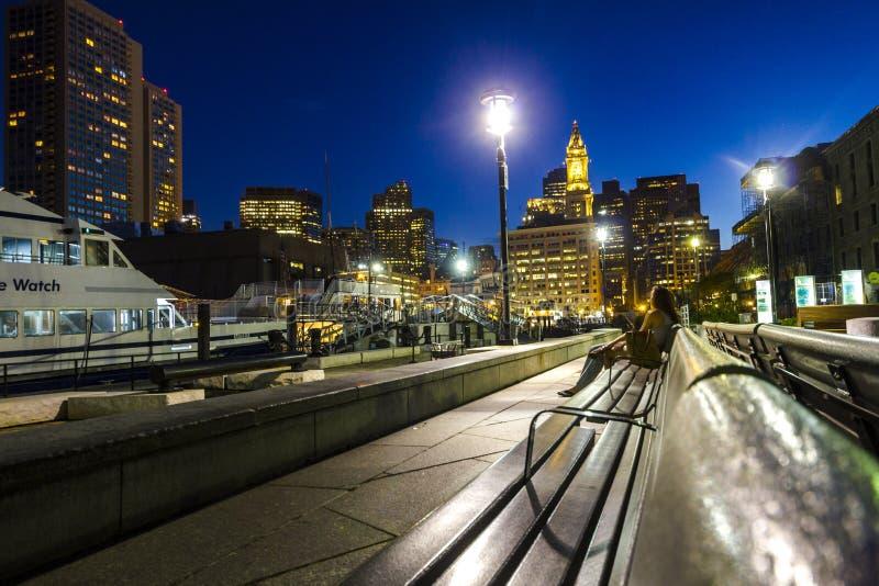 市波士顿在晚上 免版税库存照片