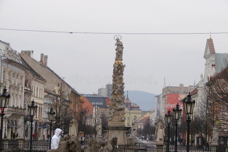 市的中区的历史的部分的全景科希策在斯洛伐克 免版税库存照片