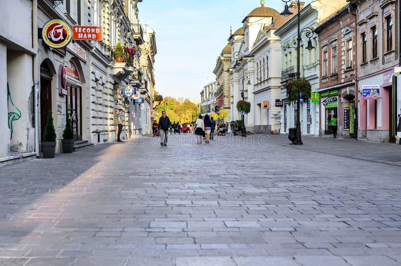 市的中央街道科希策斯洛伐克 库存照片