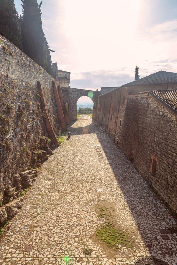市的全景从城堡的布雷西亚,意大利 免版税库存图片