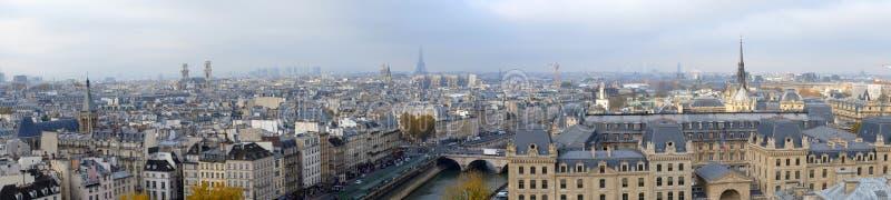 市的全景巴黎如被看见从Notre Dame大教堂 免版税库存图片