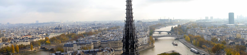 市的全景巴黎如被看见从Notre Dame大教堂 免版税库存照片
