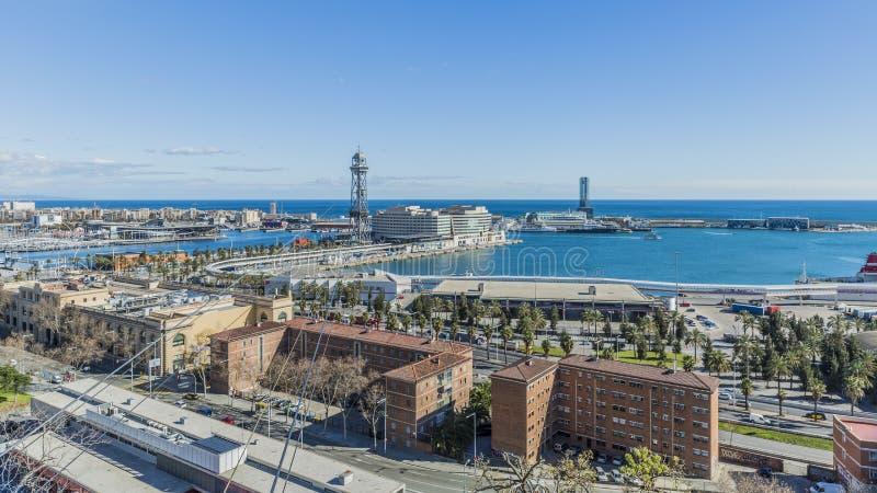 市的口岸和部分的全景巴塞罗那西班牙 免版税库存照片