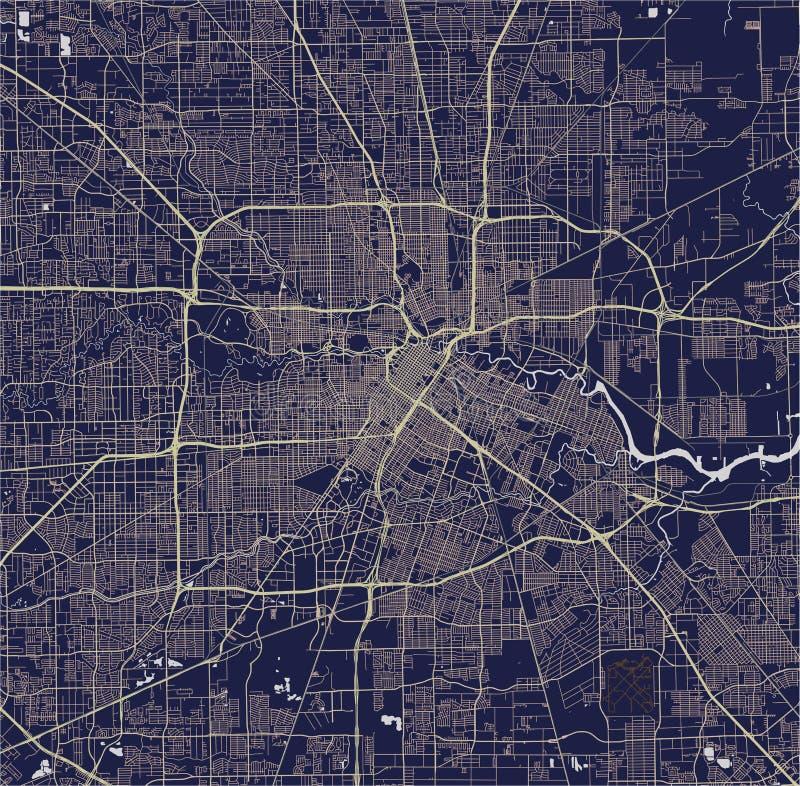市的地图休斯敦, U S 状态得克萨斯美国 皇族释放例证