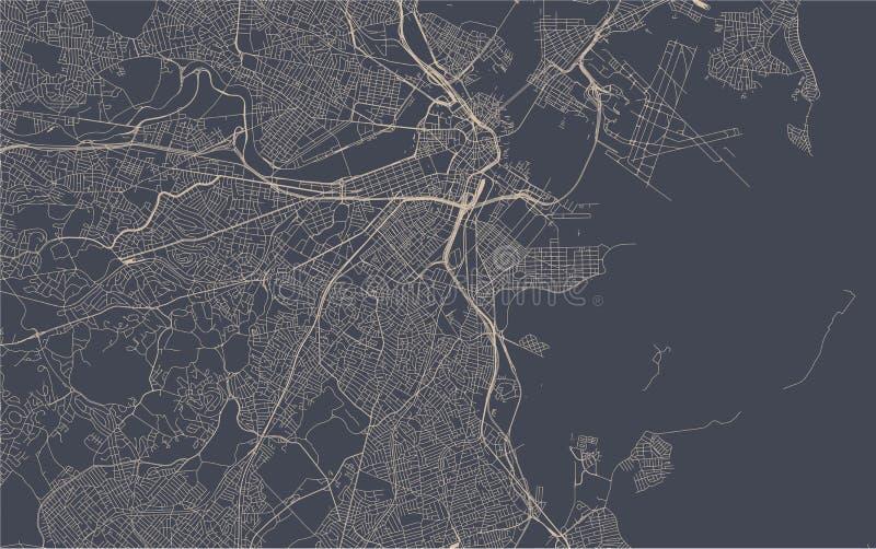 市的地图波士顿,美国 向量例证